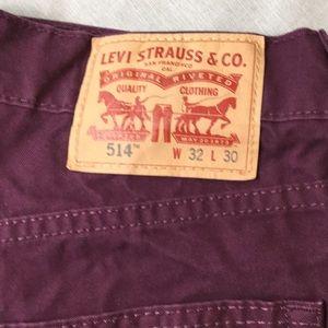 Levi's Jeans - Men's Levi's 514 Burgundy Jeans 32/27 Straight Fit